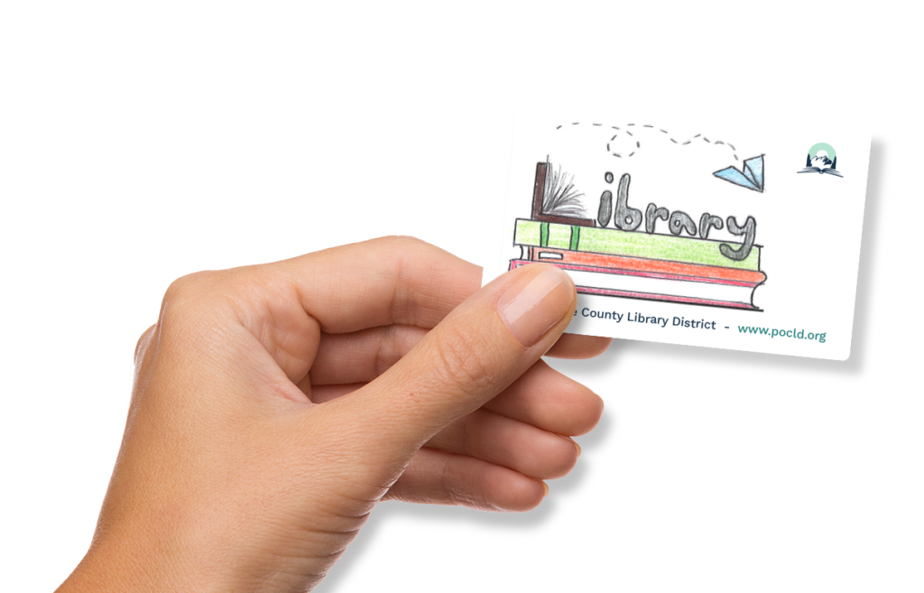 Person holding a Pend Oreille County Library card